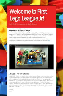 Welcome to First Lego League Jr!
