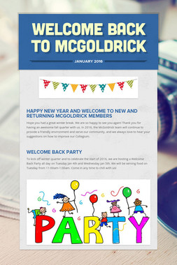 WELCOME BACK TO MCGOLDRICK