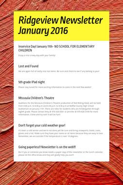 Ridgeview Newsletter January 2016