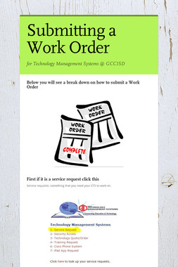 Submitting a Work Order