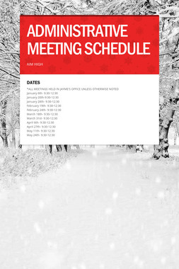 ADMINISTRATIVE MEETING SCHEDULE