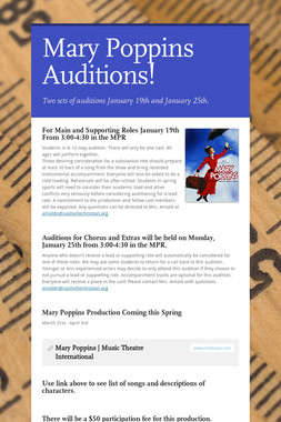 Mary Poppins Auditions!