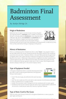 Badminton Final Assessment