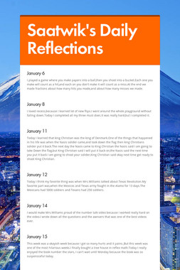 Saatwik's Daily       Reflections