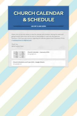 Church Calendar & Schedule
