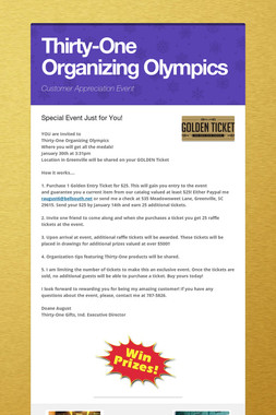 Thirty-One Organizing Olympics