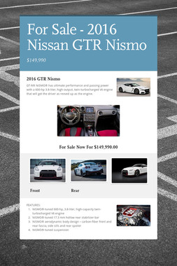 For Sale - 2016 Nissan GTR Nismo