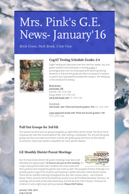 Mrs. Pink's G.E. News- January'16