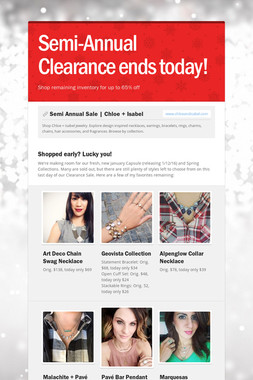 Semi-Annual Clearance ends today!