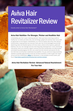 Aviva Hair Revitalizer Review