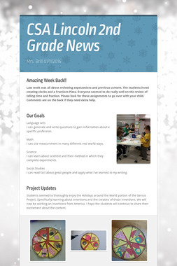 CSA Lincoln 2nd Grade News