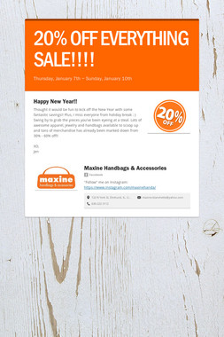 20% OFF EVERYTHING SALE!!!!