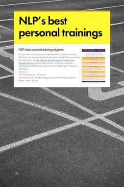 NLP's best personal trainings