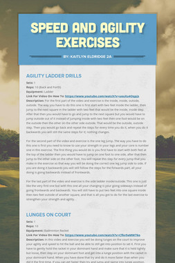 Speed and Agility Exercises
