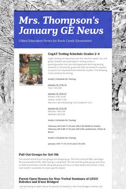 Mrs. Thompson's  January GE News