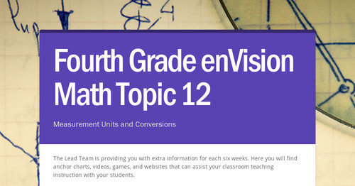 Fourth Grade EnVision Math Topic 12 Smore Newsletters