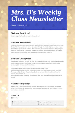 Mrs. D's Weekly Class Newsletter