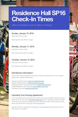 Residence Hall SP16 Check-In Times