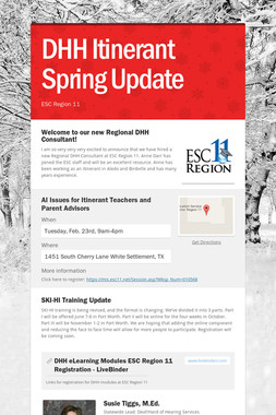 DHH Itinerant Spring Update