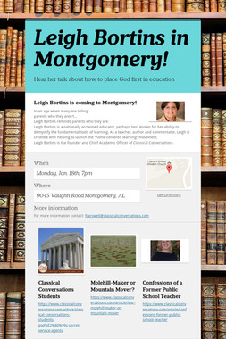 Leigh Bortins in Montgomery!