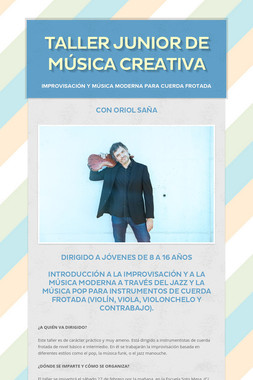 TALLER JUNIOR DE MÚSICA CREATIVA