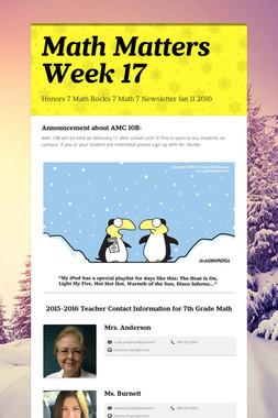 Math Matters Week 17