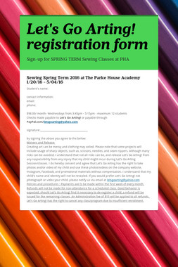 Let's Go Arting! registration form