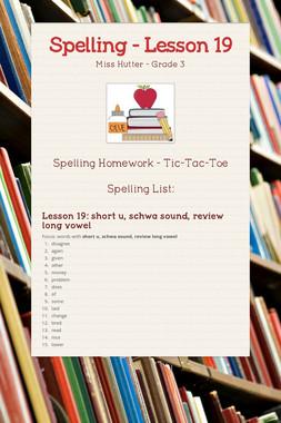 Spelling - Lesson 19