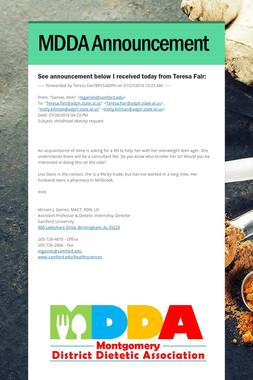 MDDA Announcement