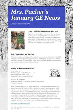 Mrs. Packer's  January GE News
