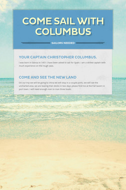 Come sail with Columbus