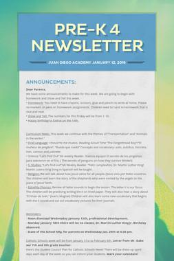 Pre-K 4 Newsletter