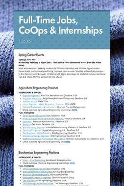 Full-Time Jobs, CoOps & Internships
