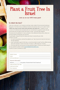 Plant a Fruit Tree In Israel