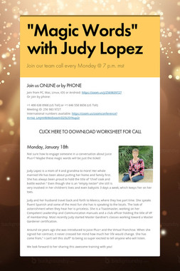 """Magic Words"" with Judy Lopez"