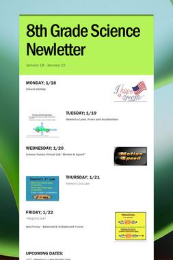 8th Grade Science Newletter