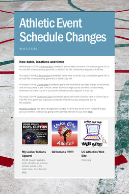 Athletic  Event Schedule Changes