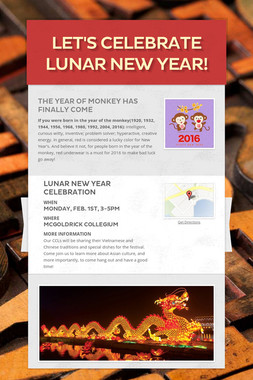 Let's Celebrate Lunar New Year!