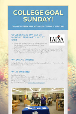 College Goal Sunday!