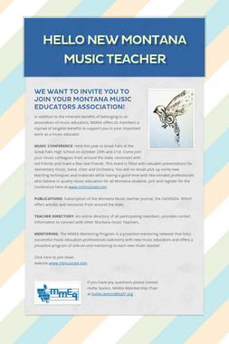 HELLO NEW MONTANA MUSIC TEACHER