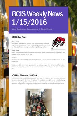 GCIS Weekly News 1/15/2016