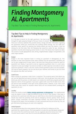 Finding Montgomery AL Apartments