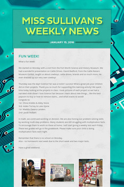 Miss Sullivan's Weekly News