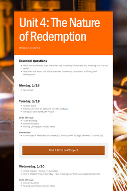 Unit 4: The Nature of Redemption