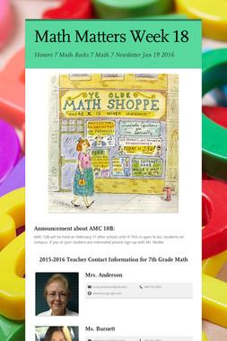 Math Matters Week 18