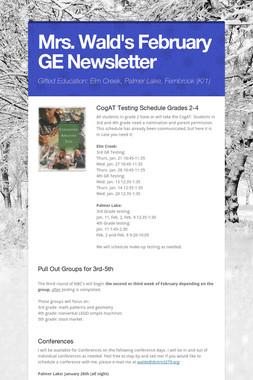 Mrs. Wald's February GE Newsletter