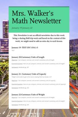 Mrs. Walker's Math Newsletter