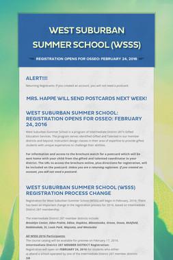 West Suburban Summer School (WSSS)