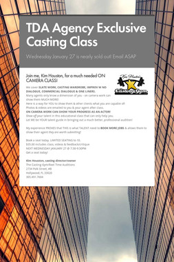 TDA Agency Exclusive Casting Class