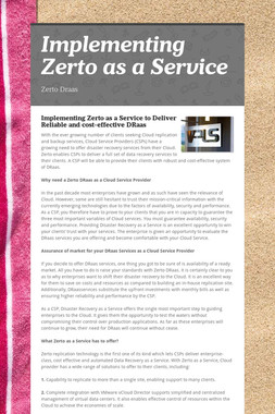 Implementing Zerto as a Service
